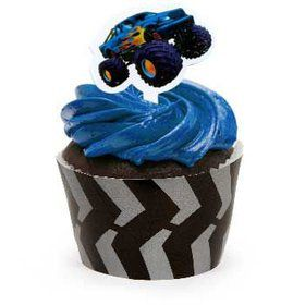 Monster Truck Cupcake Wraps With Picks (12-pack)