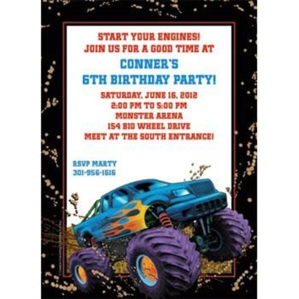 Monster Truck Personalized Invitation Custom Invitations Party
