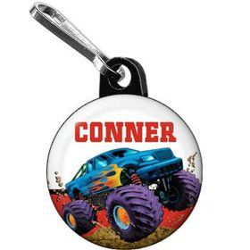 Monster Truck Personalized Mini Zipper Pull (each)