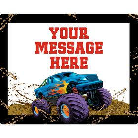 Monster Truck Personalized Rectangular Stickers (Sheet of 15)