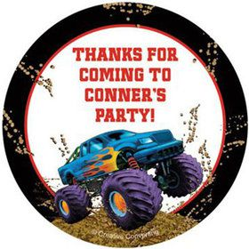 Monster Truck Personalized Stickers (sheet of 12)