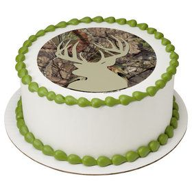 "Mossy Oak Deer 7.5"" Round Edible Cake Topper (Each)"