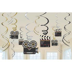 Movie Foil Swirl Hanging Decorations (6 Piece)