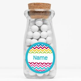 "Multi Chevron Personalized 4"" Glass Milk Jars (Set of 12)"
