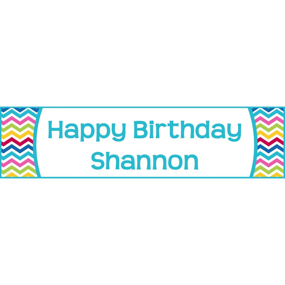 Multi Chevron Personalized Banner (Each) - Party Supplies BB1404BN