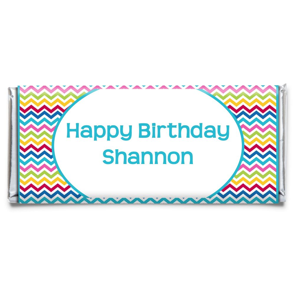 Multi Chevron Personalized Candy Bar Wrapper (Each) - Party Supplies BB145CB