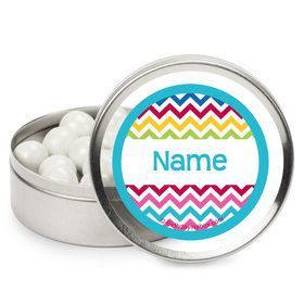 Multi Chevron Personalized Candy Tins (12 Pack)