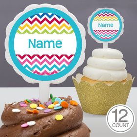 Multi Chevron Personalized Cupcake Picks (12 Count)