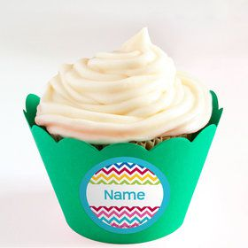 Multi Chevron Personalized Cupcake Wrappers (Set of 24)