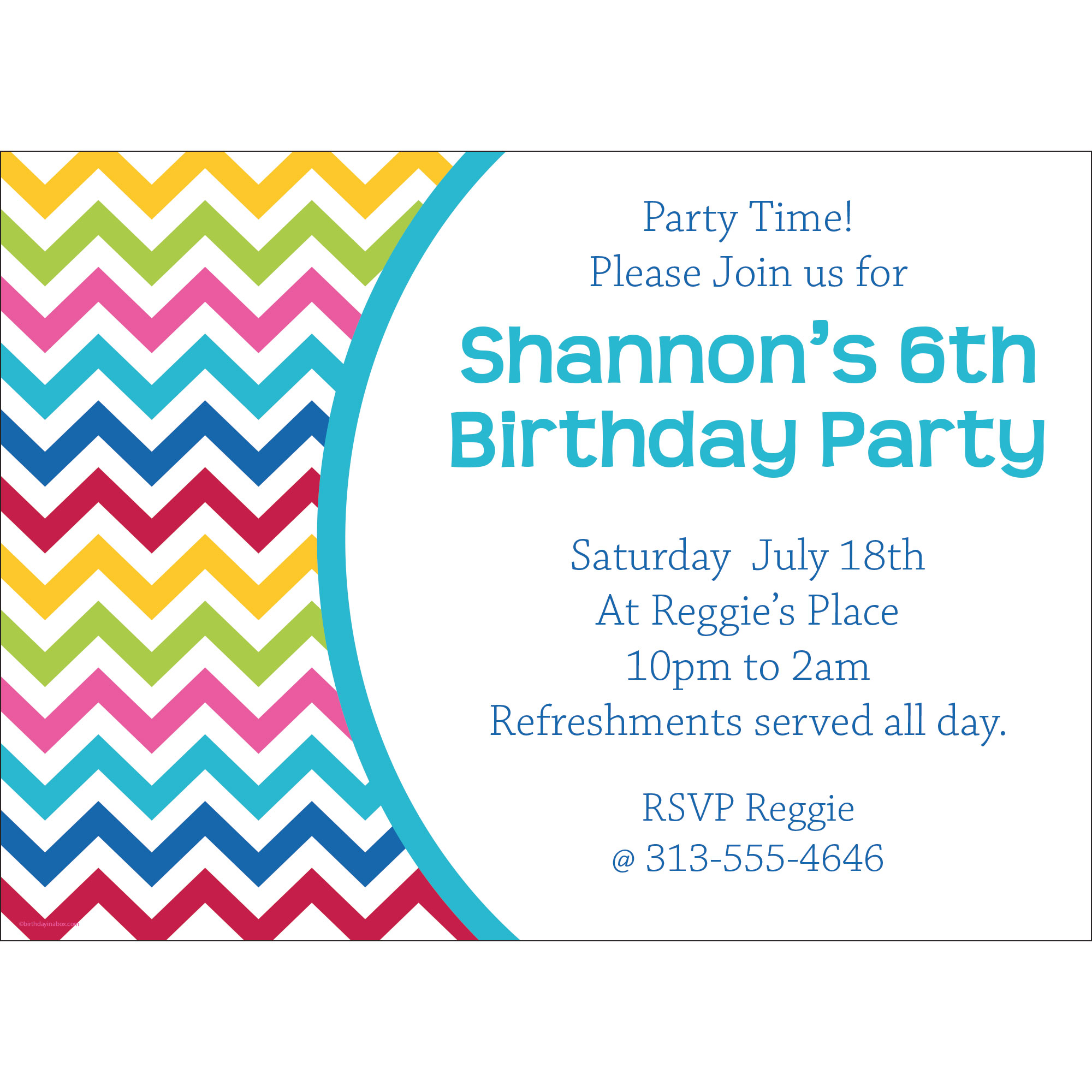 Multi Chevron Personalized Invitation (Each) BB1404IN
