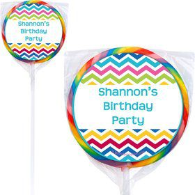 Multi Chevron Personalized Lollipops (12 Pack)