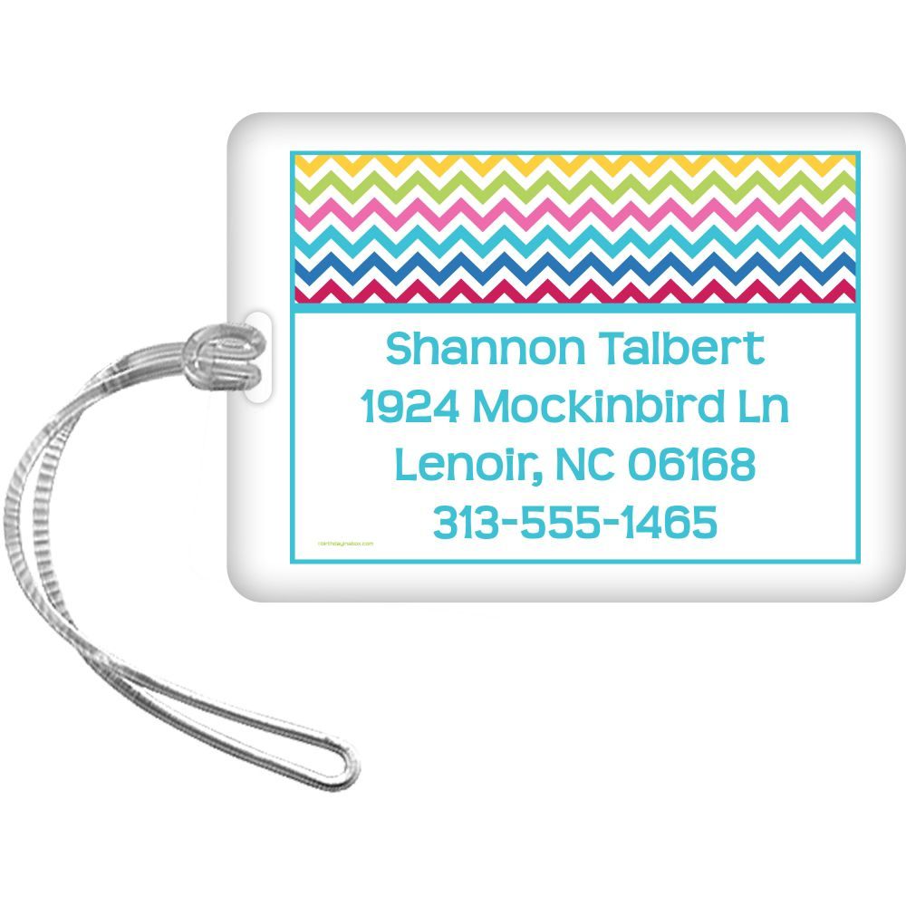 Multi Chevron Personalized Luggage Tag (Each) - Party Supplies BB1404LG