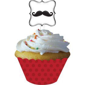 Mustache Madness Cupcake Wrappers w/ Pick (12 Pack)