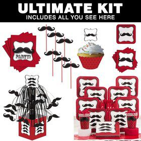 Mustache Madness Party Ultimate Tableware Kit Serves 8