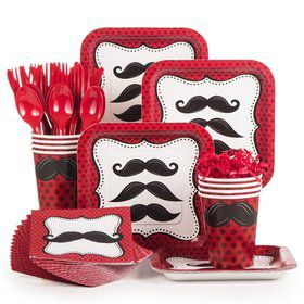 Mustache Madness Standard Birthday Party Tableware Kit Serves 8