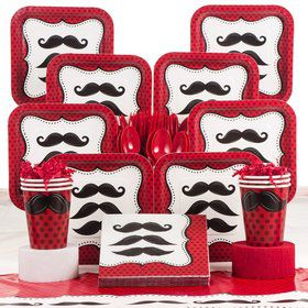 Mustache Party Madness Deluxe Tableware Kit Serves 8