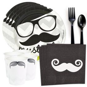 Mustache Party Standard Tableware Kit (Serves 8)
