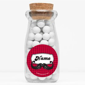 "Mustache Personalized 4"" Glass Milk Jars (Set of 12)"