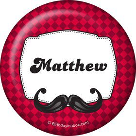 Mustache Personalized Button (Each)