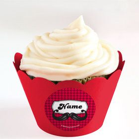 Mustache Personalized Cupcake Wrappers (Set of 24)