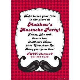 Mustache Personalized Invitation (Each)