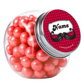 Mustache Personalized Plain Glass Jars (12 Count)