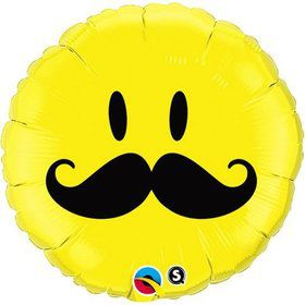 "Mustache Smiley Face 18"" Balloon (Each)"