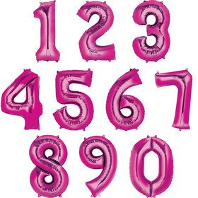 Mylar Pink Number Balloons (Each)