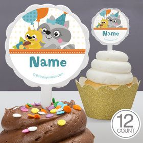 Nature Blue Personalized Cupcake Picks (12 Count)