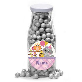 Nature Pink Personalized Glass Milk Bottles (10 Count)