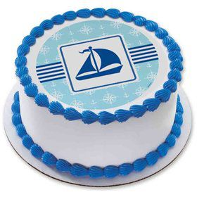 "Nautical Boat 7.5"" Round Edible Cake Topper (Each)"