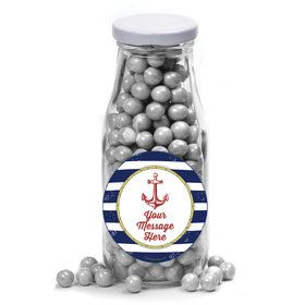 Nautical Personalized Glass Milk Bottles (12 Count)