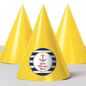 Nautical Personalized Party Hats (8 Count)