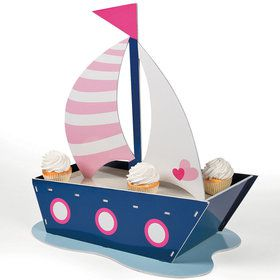 Nautical Pink Cupcake Holder (Each)