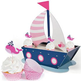 Nautical Pink Cupcake Kit