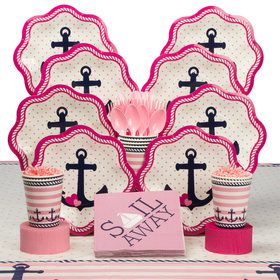 Nautical Pink Deluxe Tableware Kit (Serves 8)