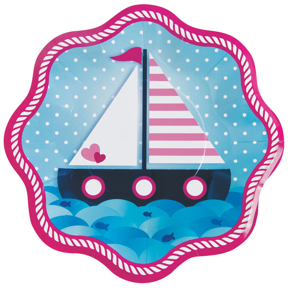 Nautical Pink Dinner Plates (8 Count) BB13733944