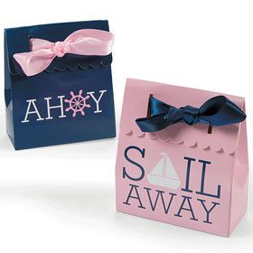 Nautical Pink Favor Boxes (12 Count)