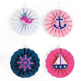 Nautical Pink Hanging Fans With Icons (12 Count)