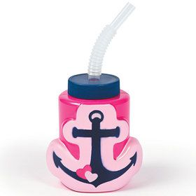 Nautical Pink Molded Cup with Straw (8 Count)