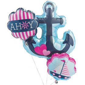 Nautical Pink Mylar Balloons Bouquet