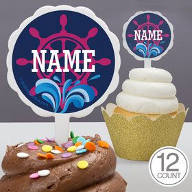 Nautical Pink Personalized Cupcake Picks (12 Count)