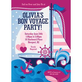 Nautical Pink Personalized Invitation (Each)
