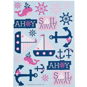 Nautical Pink Sticker Sheets (12 Count)