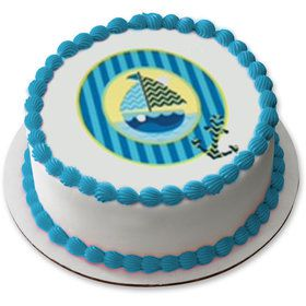 "Nautical Sail Boat 7.5"" Round Edible Cake Topper (Each)"