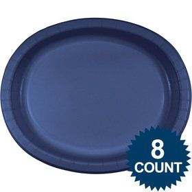 Navy Blue Heavy Duty Paper Oval Platter (8 Pack)