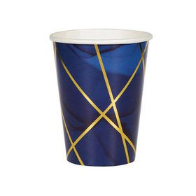 Navy Geode Paper 12oz Cups (8)