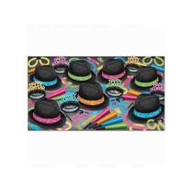 Neon Glow Chairman Hat New Year Assorted Party Kit for 50