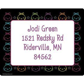 Neon Kitty Personalized Address Labels (Sheet of 15)