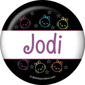 Neon Kitty Personalized Button (Each)